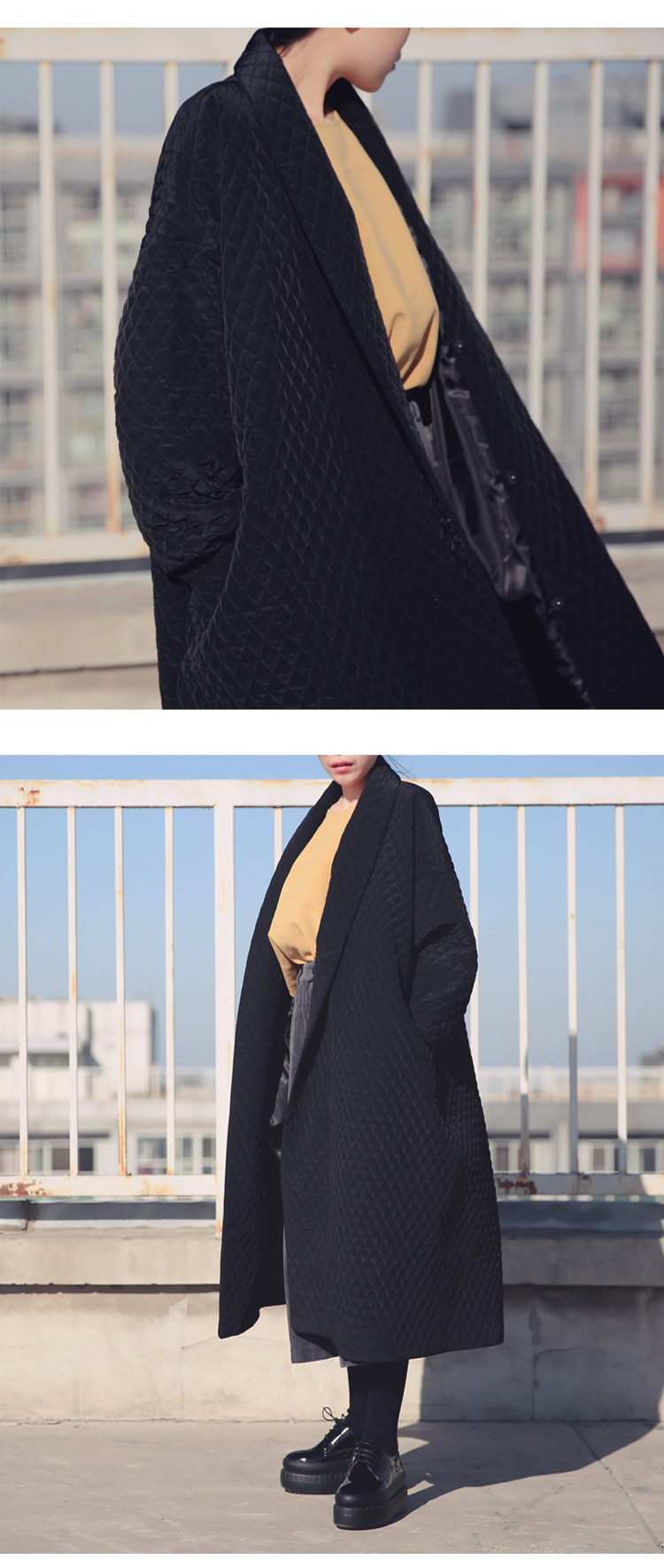European and American big-name long loose black trench coat female long