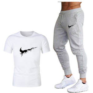 Tide brand LOGO printing men's short-sleeved T-shirt fashion casual loose T-shirt + jogging sports pants 2019 new men's clothing
