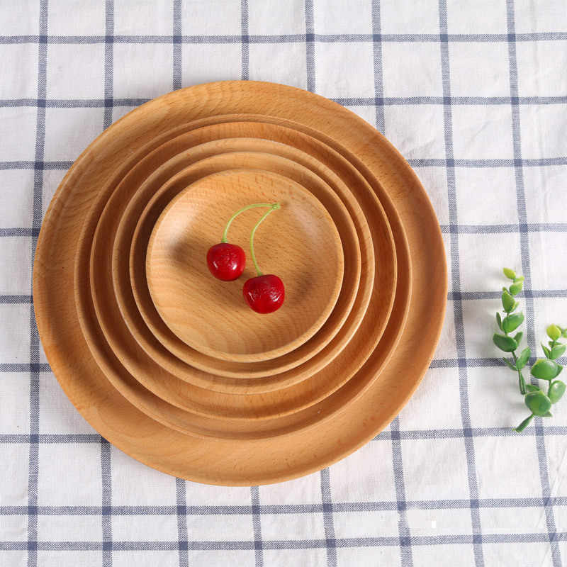 1pc Round Wooden Tray Food Bowls Plates Holder Snack Serving Plate Trays Salad Bowl Platter  for Kitchenware