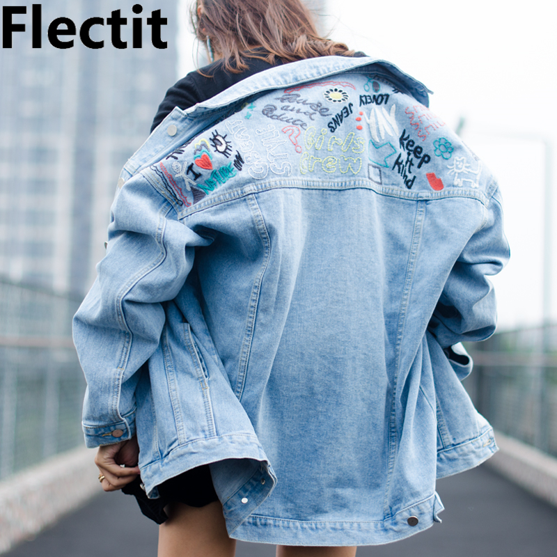 Flectit Vintage Embroidery Denim   Jacket   Women 90's Light Blue Oversize Trucker Jean   Jackets   Female   Basic     Jackets   & Coats