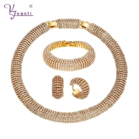 New Style White Shining Stones Beautiful Women's Earrings Necklace Bracelet Wholesale African Gold Jewelry Set