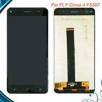 Cep telefonları ve Telekomünikasyon Ürünleri'ten Cep Telefonu LCD'leri'de % 100% Test TAMAM FLY Cirrus 4 FS507 LCD ekran + dokunmatik ekranlı sayısallaştırıcı grup 5 inç Fly FS 507 LCD
