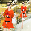 Платье женщины 2017 весной новый Г-Жа Тонкий был тонкий мультфильм печатных длинными рукавами Футболки частей установлены вершины + короткая юбки женщин