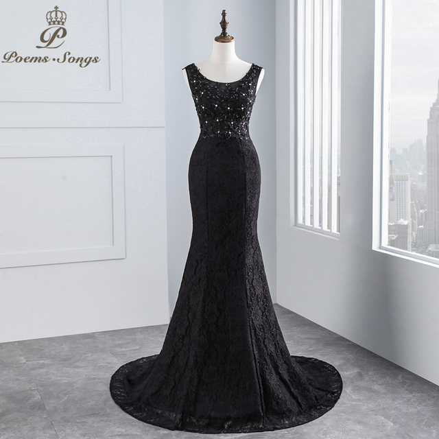 Poemssongs 2018 New Style Black Lace Fabric Y Mermaid Wedding Dress And Backless Bridal