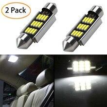 2Pcs Led Lampen Voor Auto 39Mm Led Licht 6500K Wit Smd Car Dome Dubbele Tip Lezen lamp Dak Lamp Kaart Lichtkoepels