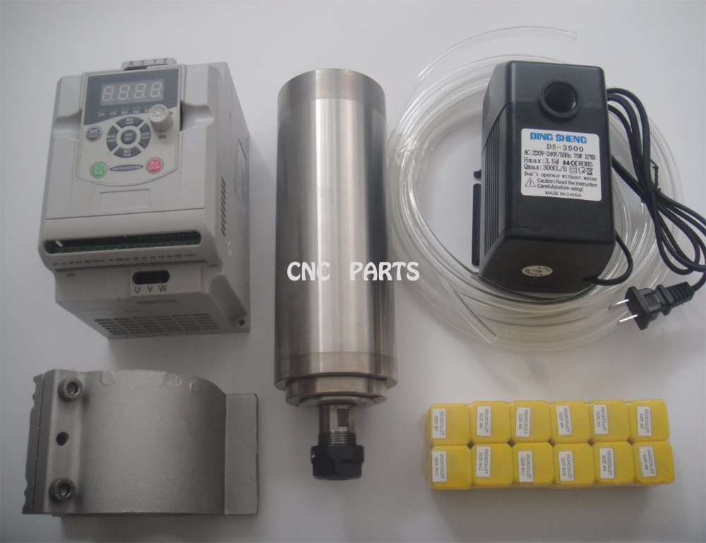 CNC spindle kit ER20 2.2KW water cooling spindle+2.2KW inverter+ ER20 collets+water pump +water pipe +matched spindle support er20 diameter 80mm 220v 24000rpm 2 2kw water cooling spindle water pump water pipe spindle support bits