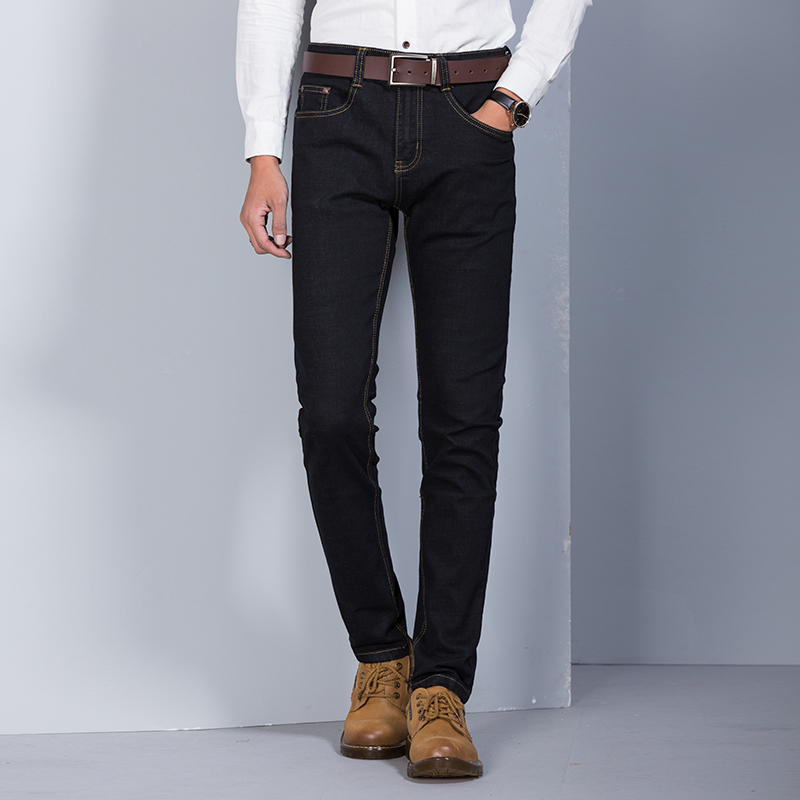 Hot Sale Men s Business Denim Jeans mens formal trousers Male Straight Solid Elastic Slim Pants