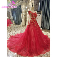 2016 Ball Gown Elegant Scoop Neck Appliques Evening Dresses Long Bridal Gown Red Party Prom Dresses Formal Dress Robe de Soiree