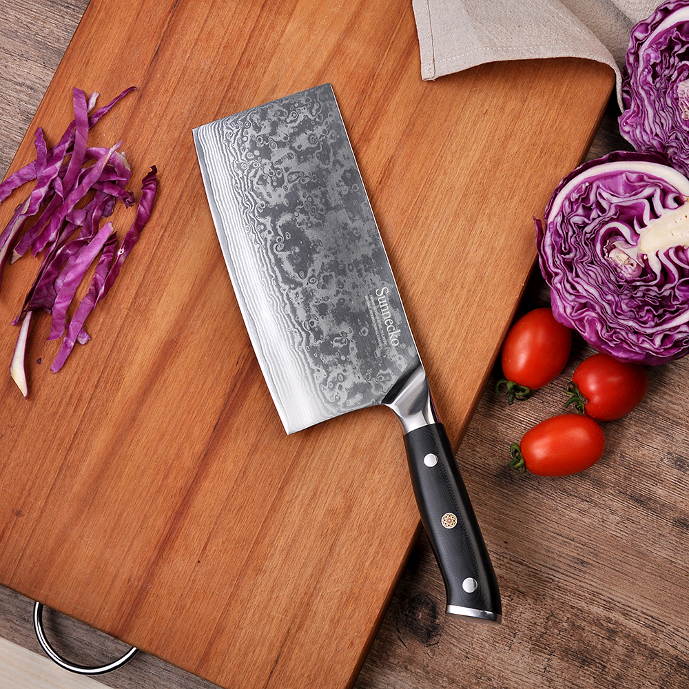 """sunnecko 7"""" inch cleaver knife 73 layers damascus steel"""