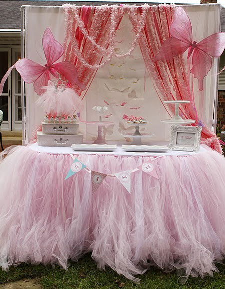 pink tulle table skirt tutu table skirt for princess party birthday bridal shower wedding sweet sixteen