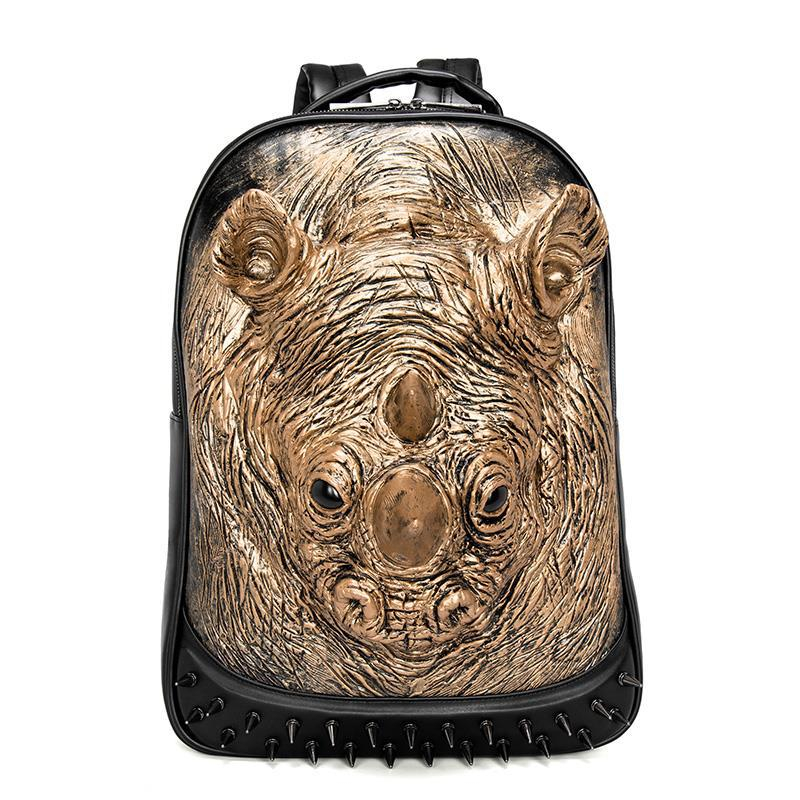 3D Animal Leather Backpack 2019 Fashion Personality Punk Rivets Backpack Men School Halloween Cool Black Leather Bags3D Animal Leather Backpack 2019 Fashion Personality Punk Rivets Backpack Men School Halloween Cool Black Leather Bags