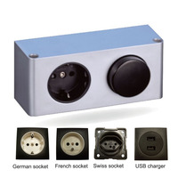 HoneyFly Patented IP20 LED Switch Box 20W 12V DC Input 220V Power Box Sockets USB Charger