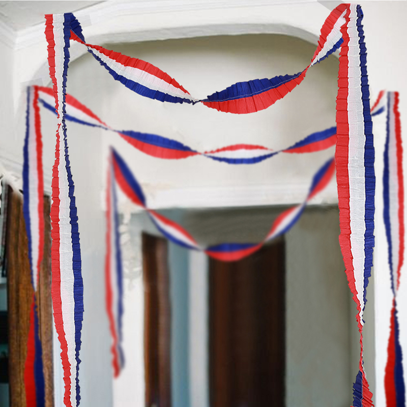 Red Blue White Hanging Banner <font><b>4</b></font> Of <font><b>July</b></font> Party Paper Garlands Craft Supplies American Independence Day Party DIY Home <font><b>Decorations</b></font> image