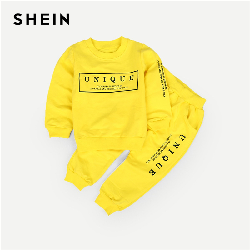 SHEIN Kiddie Yellow Toddler Boys Letter Print Sweatshirt With Pants Children 2019 Spring Long Sleeve Casual Kids Suit Sets feather print sweatshirt