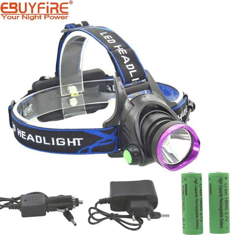 LED Phare 18650 Phare Recharge XM-L T6 Projecteurs LED Head Light + batterie + AC Chargeur De Voiture