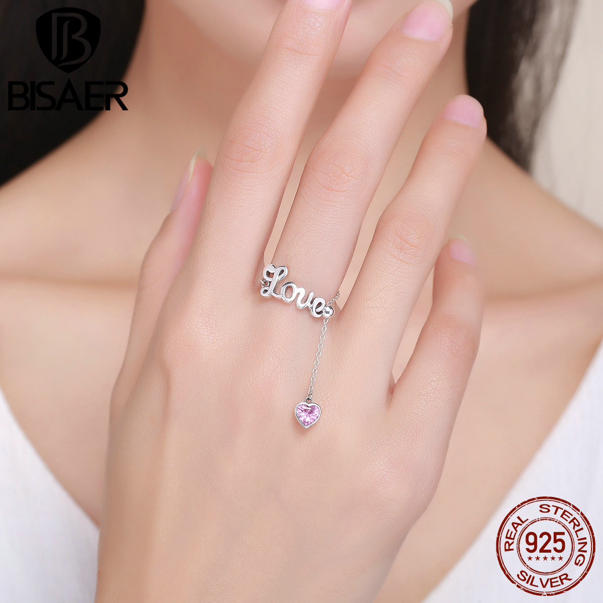 Real 100% 925 Sterling Silver Pink Heart Love Letters Finger Rings ...