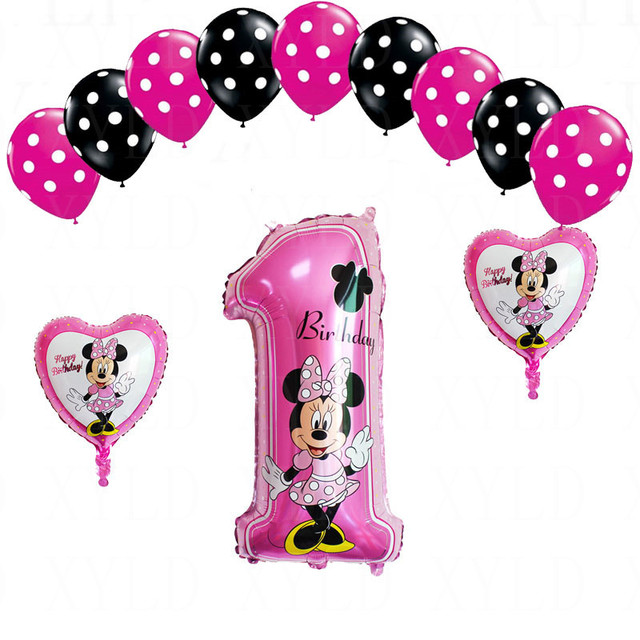 Genoeg 13pcs Mickey minnie mouse number 1 foil balloons lot helium dot  @NW-99