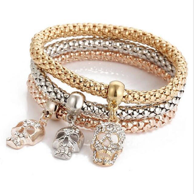 3PCS Set Crystal Women Heart Bracelets & Bangles Fashion Gold Elastic Bracelets