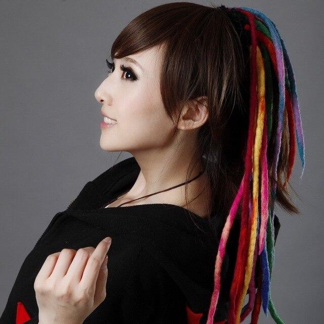 Fashion reggae bianzi wool felt wig ring ,Rainbow Color hair ...