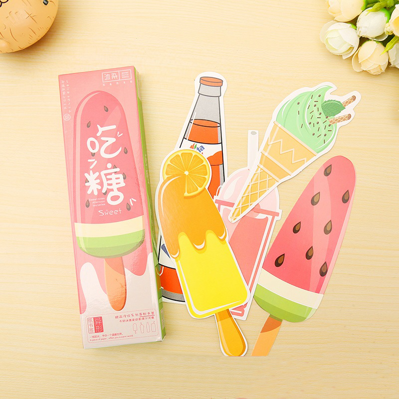 30 Pcs/pack Novelty Cute Ice Cream Style Bookmark Paper Book Holder Message Card Bookmarks School Office Stationery Supplies