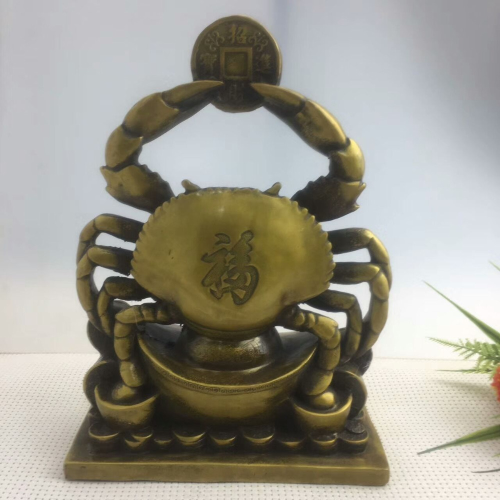 Unique China Ancient Collection Brass Copper Animal Crab Statue Good Wish Decor Come from all sides Lucky