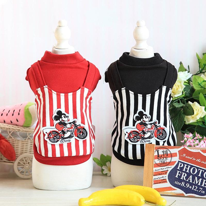 Mickey Design Autumn Dog Cat Hoodie Coat Small Pet Clothes Jacket Puppy Apparel Shirt Striped XS S M L XL