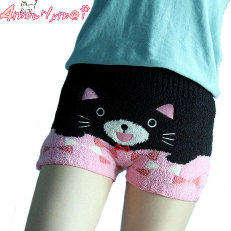 2019 Autumn Winte Women   Shorts   Japanese Style Mori Girl Lolita Kawaii Cartoon Elastic High Waist Warm Bottoming   Shorts   Home Wear