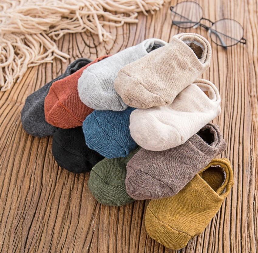 6 шт. = 3 пар/лот, Хлопковые женские незаметные Носки ярких цветов, Нескользящие зимние и весенние тапочки хорошего качества