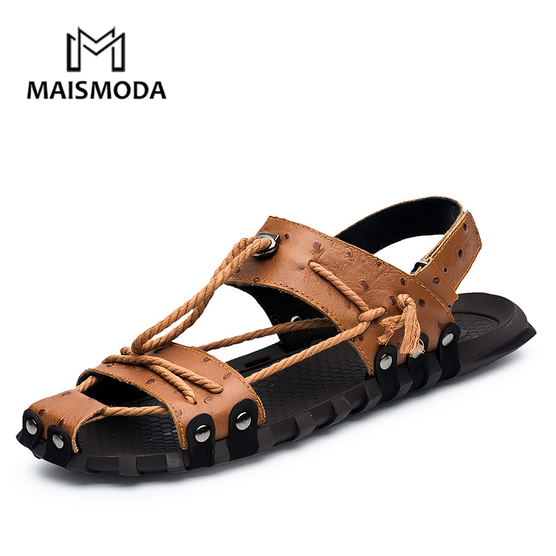MAISMODA Men Soft Sandals Genuine Leather Outdoor Casual Summer Beach Shoes Comfortable Plus size 38-47 chaussures YL510MAISMODA Men Soft Sandals Genuine Leather Outdoor Casual Summer Beach Shoes Comfortable Plus size 38-47 chaussures YL510