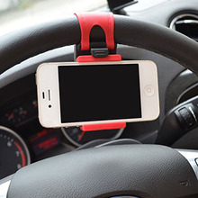 Universal Steering Wheel Stand Car Mount Navigate Bracket GPS Rubber Band Cell Phone Holder Red 5.5 Inch for iPhone7 7Plus