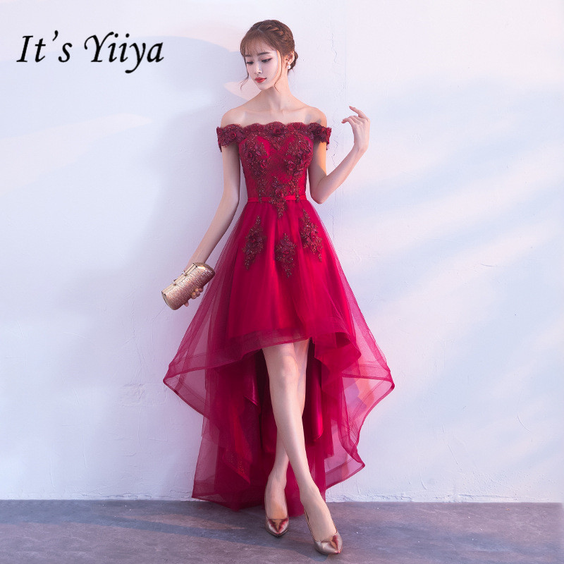 It's YiiYa New Wine Red Boat Neck   Cocktail     Dress   Embroidery Tea-Length Formal   Dress   Party Gown H063