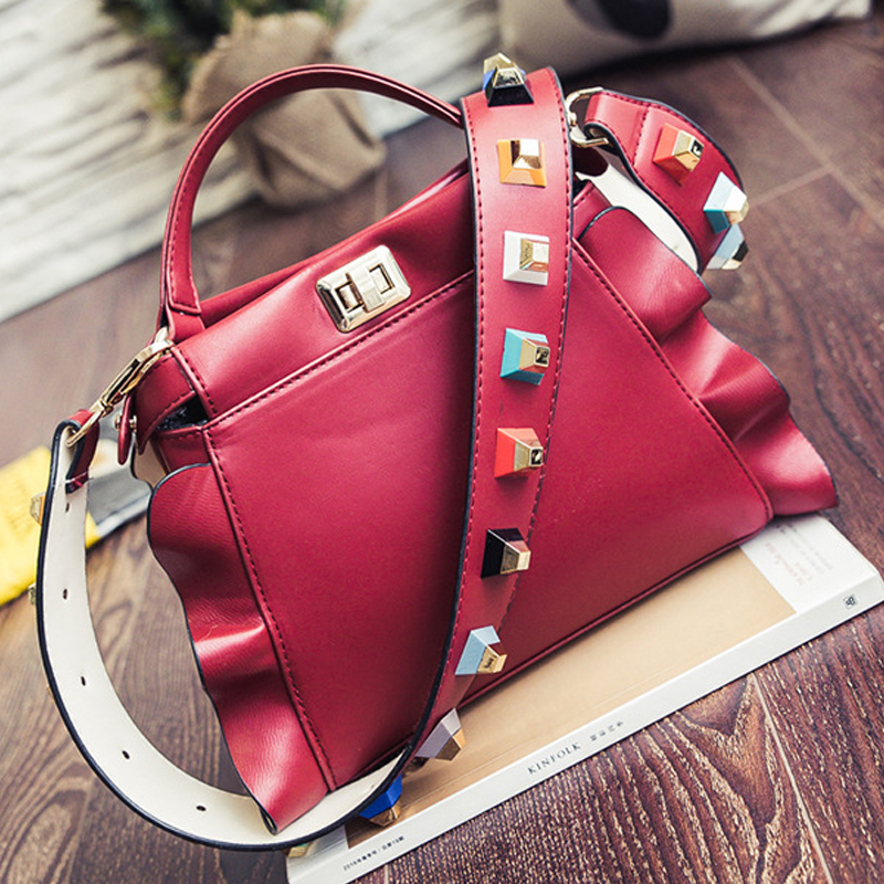 High Quality Handbags Designer Evening Party Bags Ruffle Color Rivet Shoulder Strap Bag Luxury Crossbody Fashion In From Luggage