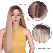 I's a wig Long Straight Synthetic Wig Mixed Brown and Blonde Long Wigs for White /Black Women Middle Part Nature Wigs