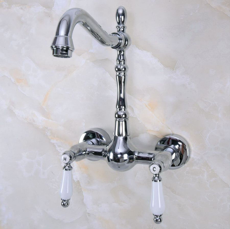 Polished Chrome Brass Wall Mounted Double Ceramic Handles Levers Bathroom Kitchen Sink Faucet Mixer Tap Swivel Spout Anf961