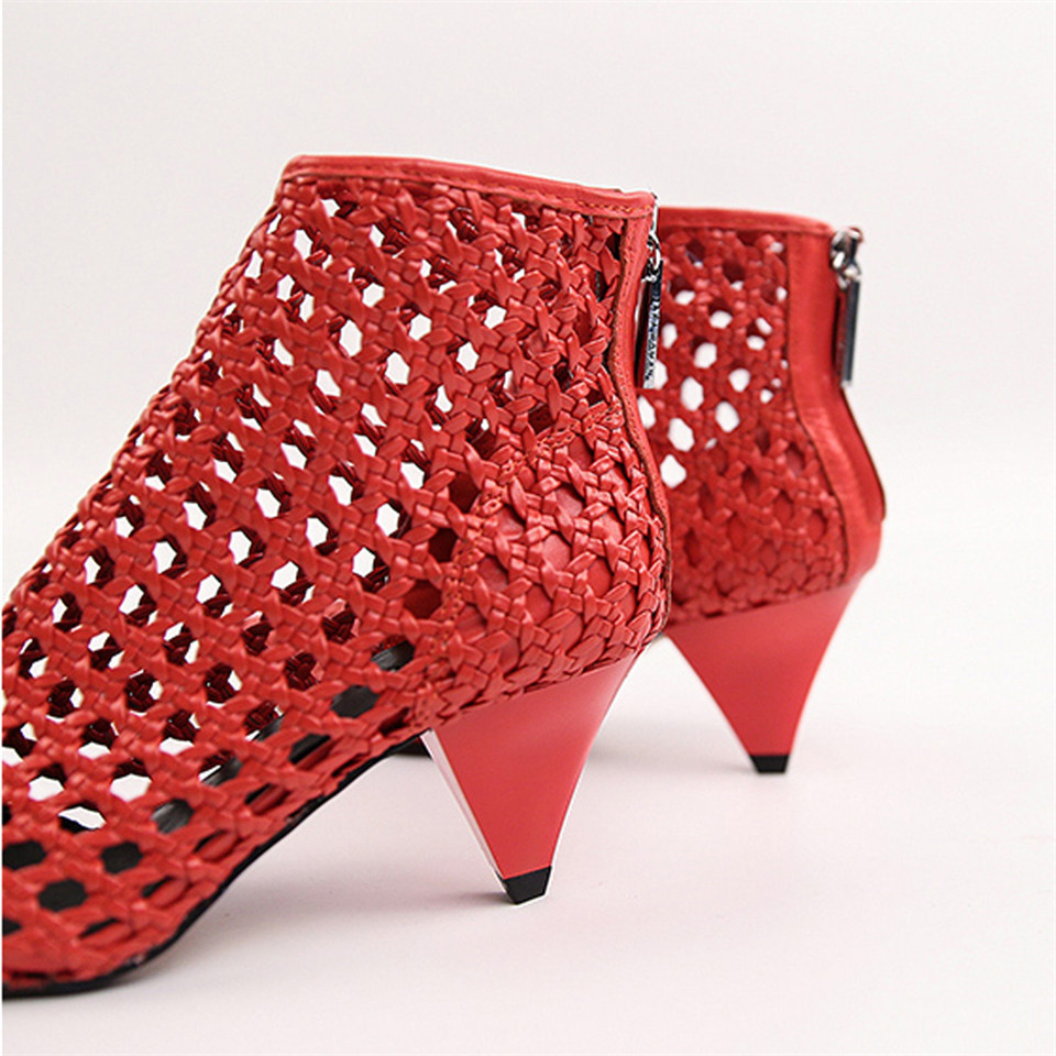 c958fb6fe36 JAWAKYE Elegant Retro Red Gladiator Sandals Womens Cut Outs Mesh Leather  Block Chunky Spike High Heels Ankle Boot Women shoes-in Middle Heels from  Shoes on ...
