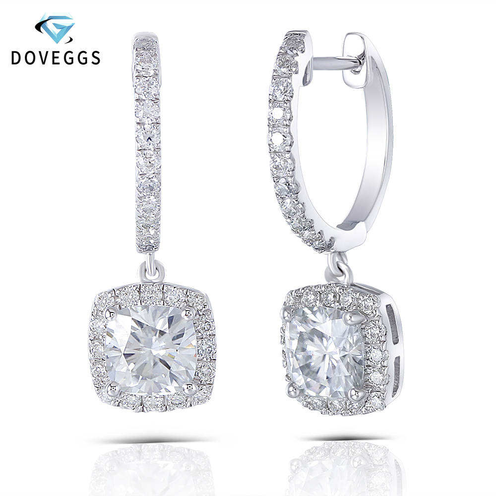 DovEggs Sterling Platinum Plated Silver 2.74CTW Center 6*6mm GH Color Cushion Cut Moissanite Halo Hoop Earrings for WomenDovEggs Sterling Platinum Plated Silver 2.74CTW Center 6*6mm GH Color Cushion Cut Moissanite Halo Hoop Earrings for Women
