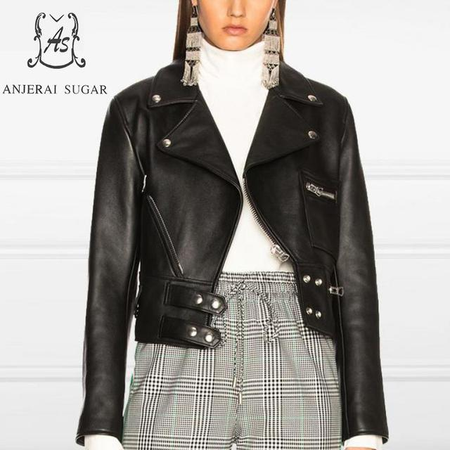 Black sheepskin genuine leather jacket women coat motorcycle Turn-down Collar slim female Casual short  leather chaqueta mujer