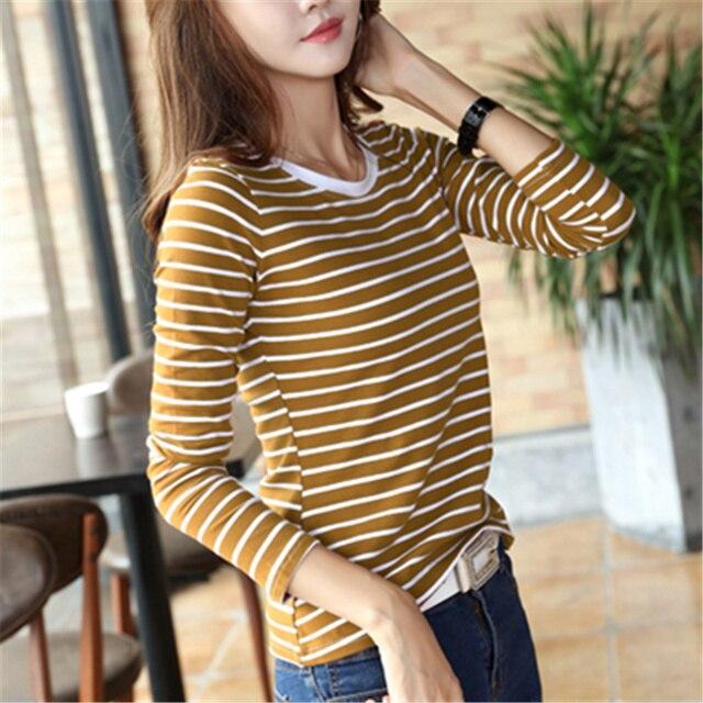 c70176960 Striped T shirt Women s Shirts 2018 Autumn O Neck basics Long Sleeve Female  Tshirt Cotton Slim Casual Tees Tops Lady S-3XL