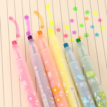 6pcs/lot 13.5*1.5cm Cute Five-Pointed Star Highlighter Color Graffiti Marker Pen Focus Circle