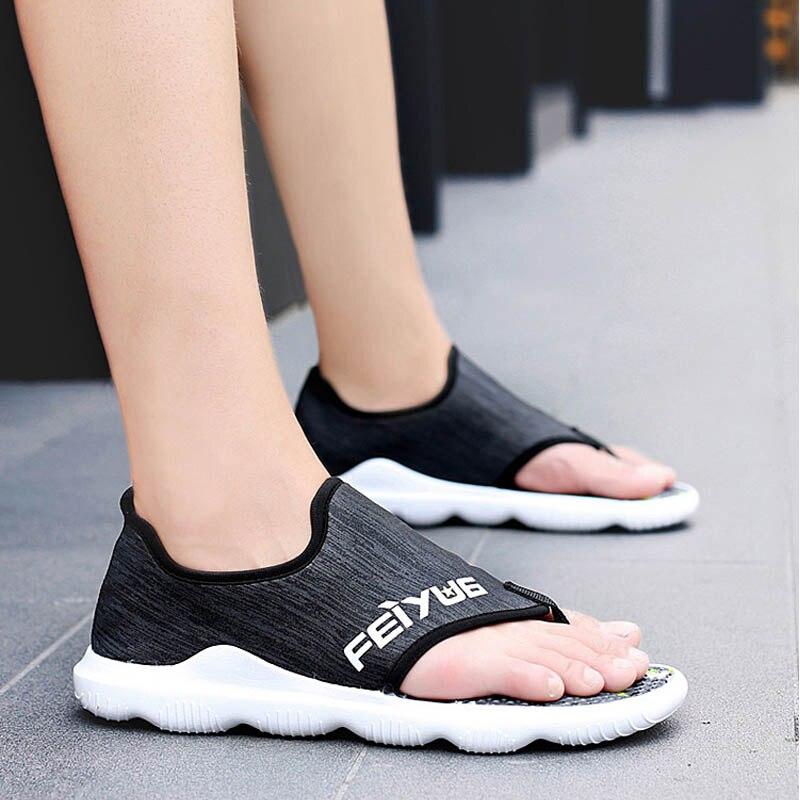 夏 2019 の靴高品質メンズソフト Sandalias 快適な屋外カジュアルフリップフロップスタイル Sandalen Hombre