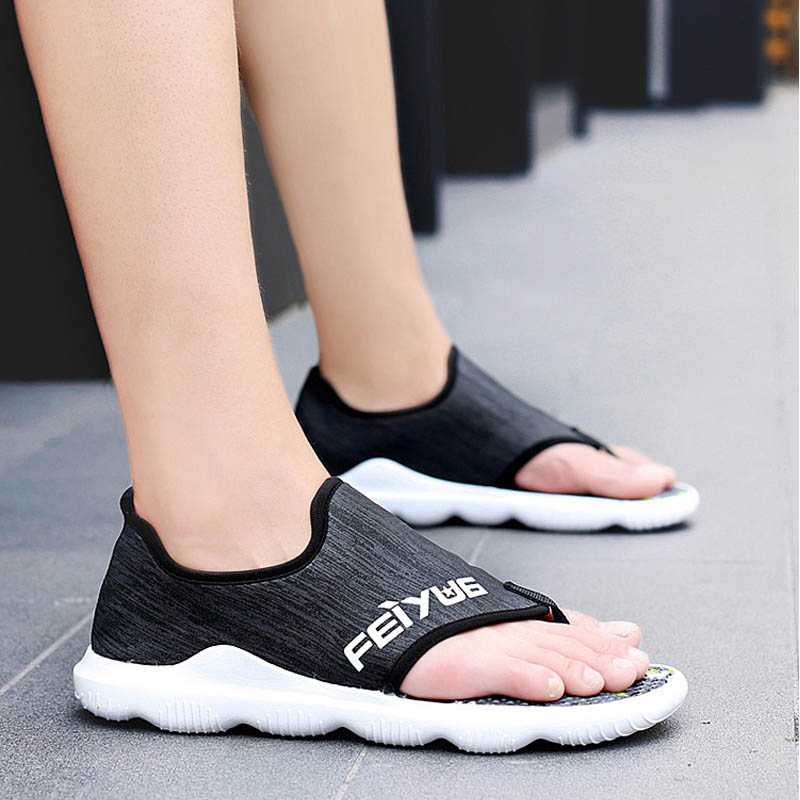 <font><b>Summer</b></font> 2019 <font><b>Sandals</b></font> <font><b>Men</b></font> Beach Shoes High Quality <font><b>Mens</b></font> Soft Sandalias Comfortable <font><b>Outdoor</b></font> Casual Flip Flops Style Sandalen Hombre image