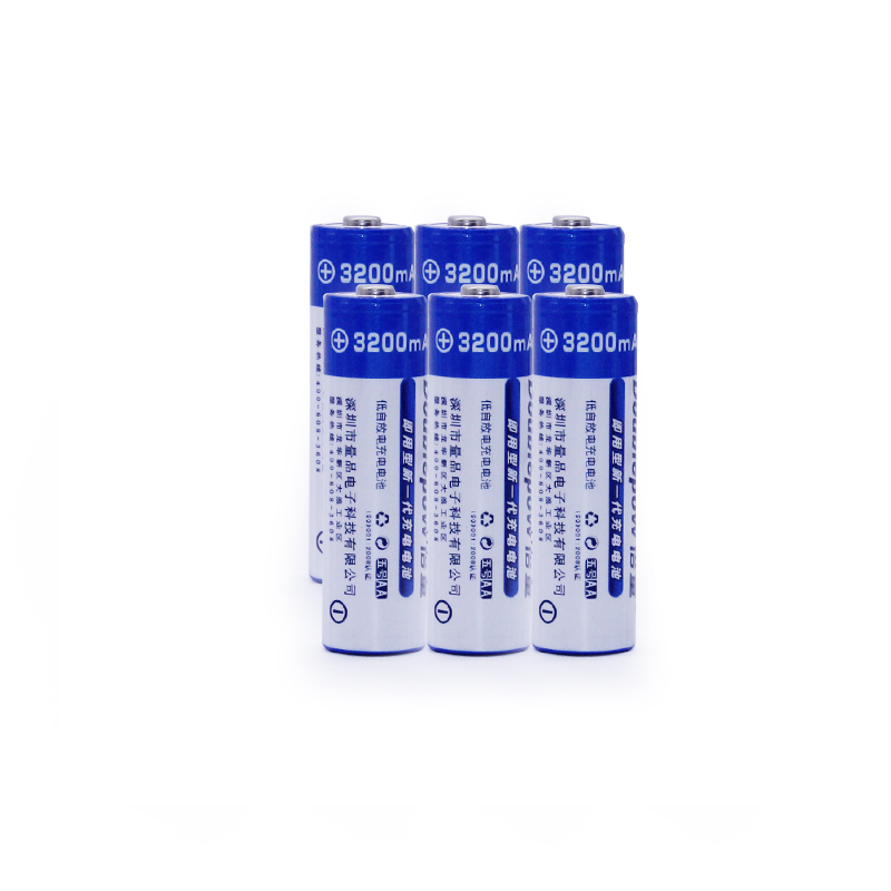 6pcsAA Batteries NI-MH 3200mAh 1.2V AA Rechargeable Batteries 2A Bateria Baterias or Remote Controller/Electric Shaver/Radio/Toy
