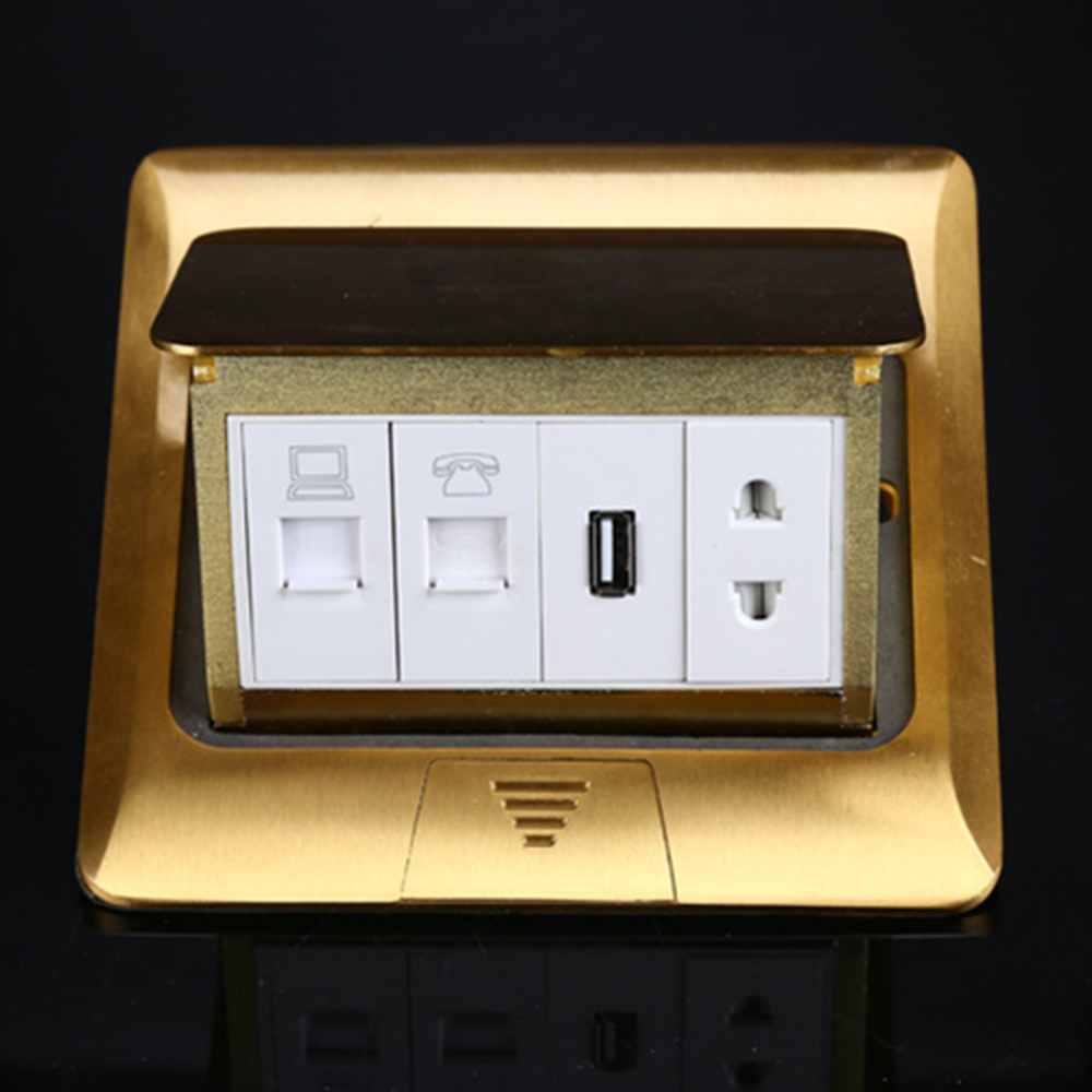 Manufacturer All Copper Panel Pop Up Floor Socket Internet + Telephone Jack...