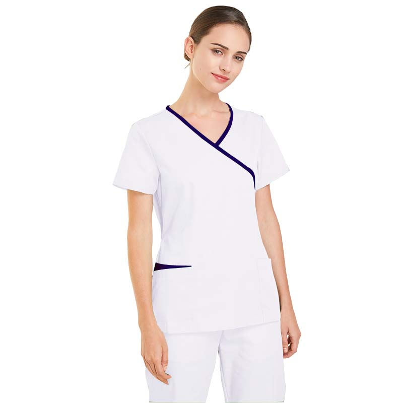 Scrubs Medical Uniforms Women Short Sleeve Scrub Suits Dental Beautician Oral Pet Summer Operating Room Surgical Gown Top + Pant