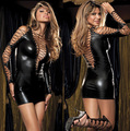 New Ladies Shiny Sexy Gothic Fetish Clubwear  Deep-v Faux Leather PVC Catsuit Women Mini Dress Intimates Wholesale 5  10316
