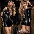 Nueva Ladies Shiny Sexy Gothic Fetish Clubwear v-profundo PVC Catsuit de Cuero de Imitación de Las Mujeres Mini Vestido Intimates Wholesale 5 10316