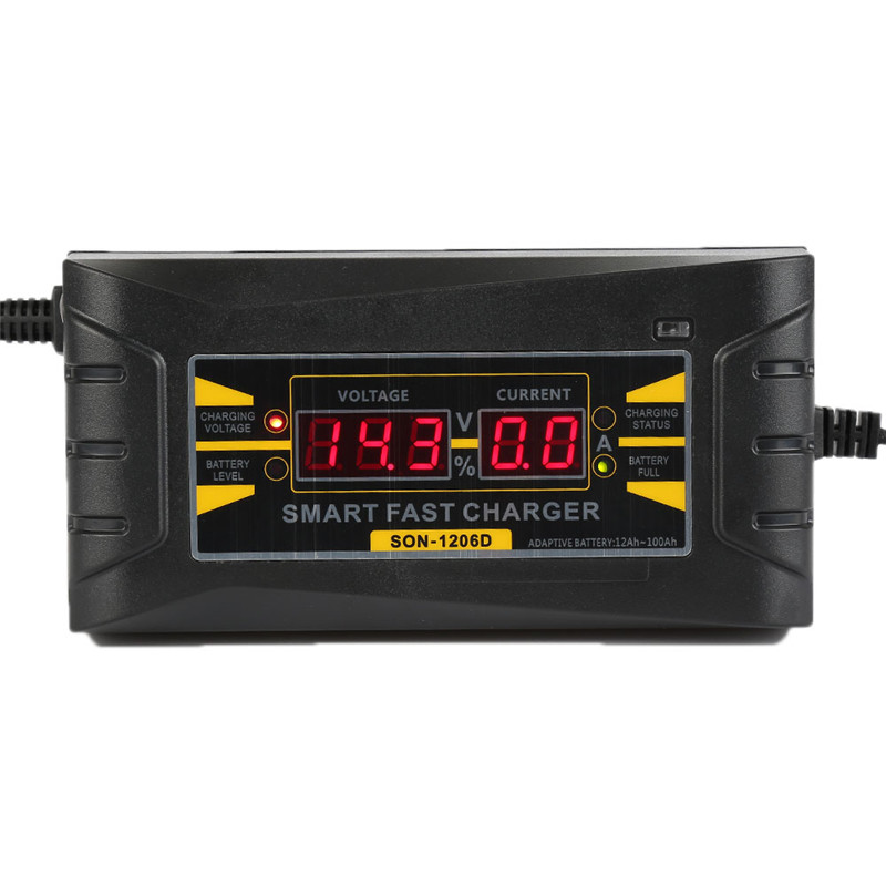 6A 12 V Totalmente Automático Carregador de Bateria de Carro 110 V para 220 V bateria de Chumbo Ácido Seco Molhado Rápida e inteligente de Carregamento De Energia Digital LCD exibição
