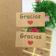 Labels Thank-You Spanish Stickers Gift Jewelry/bake for 600pcs/Lot Kraft Written in