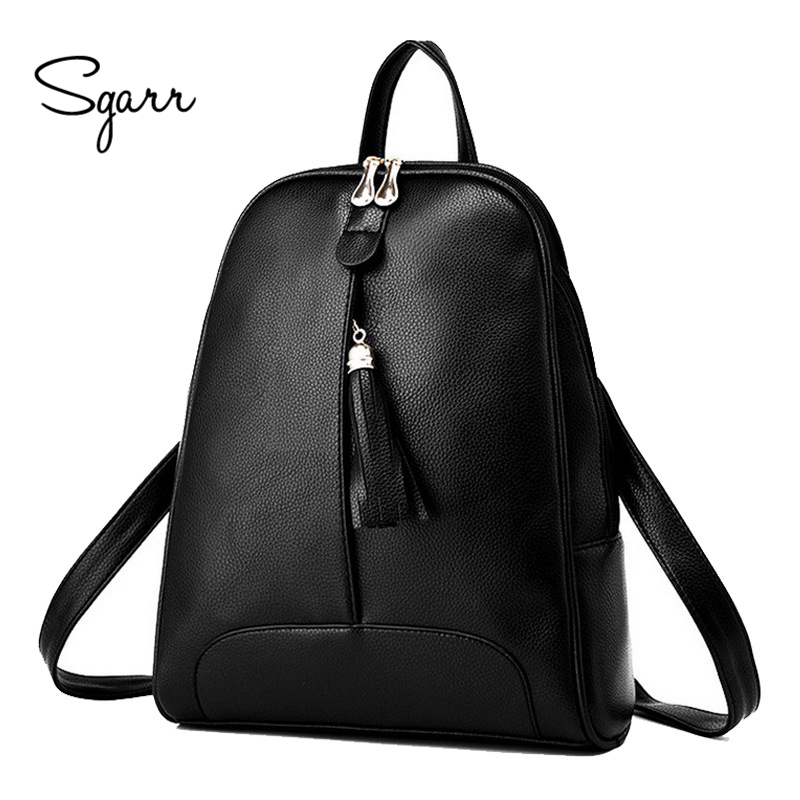 SGARR High Quality Casual PU Leather Backpack Women Fashion School Bags For Teenager Girls Mochila Female Travel Shoulder Bag hp ce320ad 128a black