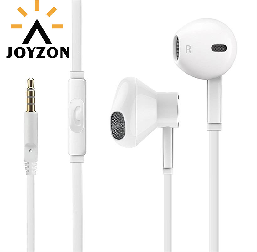 Hot Sale JOYZON 3.5mm Jack Bass Earphone With Microphone For iPhone 6 6S 5 5S In-Ear Earbud White Earphone For Xiaomi Samsung
